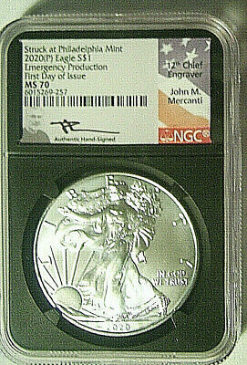 2020 (P) American Silver Eagle S$1 EMERGENCY RELEASE NGC MS70 FDI MERCANTI LABEL