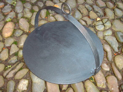 "Antique Hanging Folding 16"" Cast Iron Skillet / Griddle Plate"