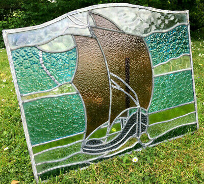 Antique Architectural Art Deco Sail Boat Lead Light Stain Glass Window 20s 30s