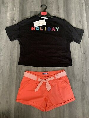 Girls Summer Outfit Shorts & T Shirt Age 8 Years T-shirt Bnwt M&S & Okaidi