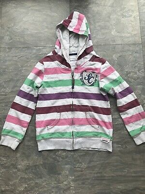Next Girls Grey/purple/green Striped Hoody Age 12 Yrs