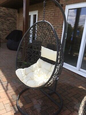 Hanging Rattan Swing Patio Garden Egg Chair With Cushions