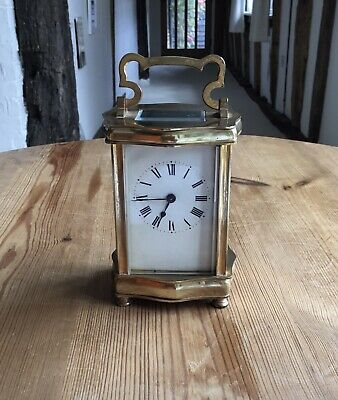 Antique French Brass Carriage Clock In Original Leather Case.