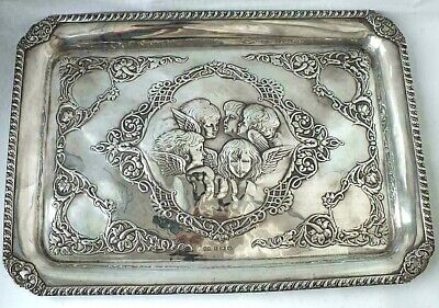 "Large solid Sterling Silver "" Angel's heads ""   Tray 1902                ref 595"