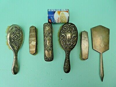 Collection of 6 solid silver Brushes/Mirror