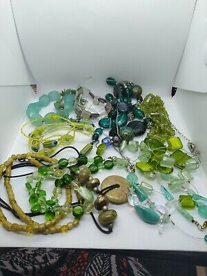 Joblot green toned glass and gemstone necklaces crafts re- stringing (283)