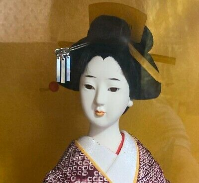 Japanese antique Geiko doll kimono Geisha Girl beautiful Japan Umbrella Figure