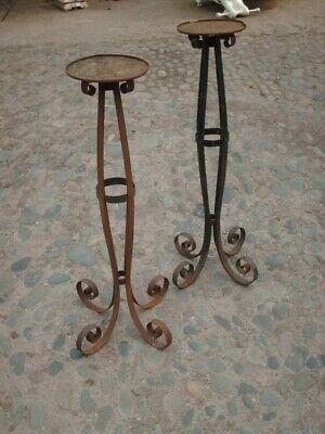 Two  Large Wrought Iron Plant Pot Stands / Bird Tables