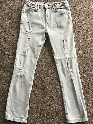 River Island Boys Light Blue Ripped Style Skinny Sid Jeans Age 9 Years Vgc