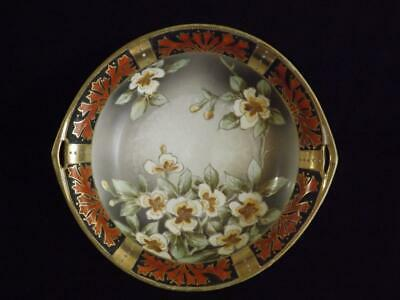 """Nippon Blue Maple Leaf Hand Painted 10"""" Gold Floral Bowl"""