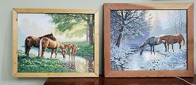 Vintage Paint By Number Pair Framed Paintings. Horses Gorgeous Large