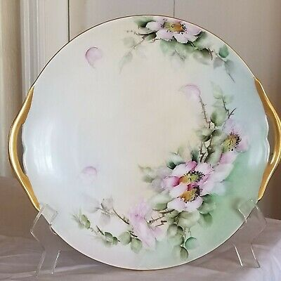 "Vintage Hand Painted D&C France Handled 10"" Platter."