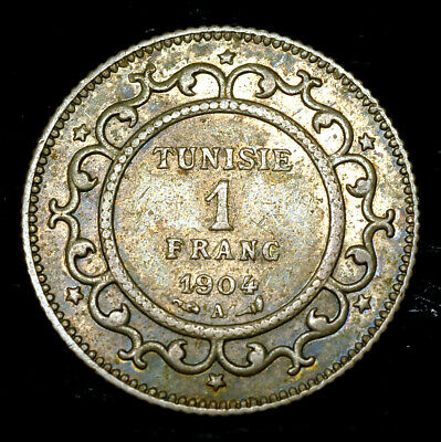 FRENCH TUNISIA 1 FRANC 1904 SCARCE! HIGH GRADE! LUSTER! an.