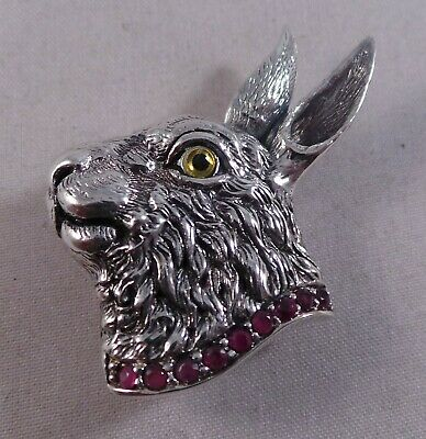 Superb Sterling Silver And Ruby Rabbit Pin / Badge / Brooch And Pendant