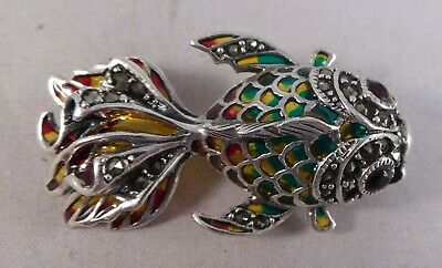 Beautiful Solid Silver Marcasite Enamel Red Stone Fish Brooch / Pin / Pendant