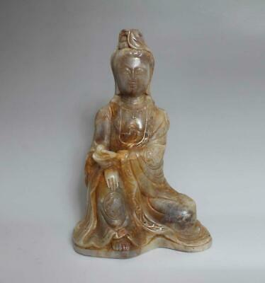 Large Fine Chinese Carved Jade Statue Guanyin Buddha H10.04""