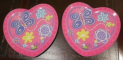 Childrens Hearts PLATES Butterfly Kids Baby Plate Purple Pink Childs Set =2