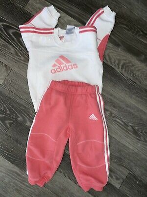 Baby Girls Adidas Tracksuit Age 9-12 Months Jumper & Bottoms Set