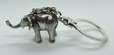 Very Nice Quality Solid Sterling Silver Elephant Key Ring