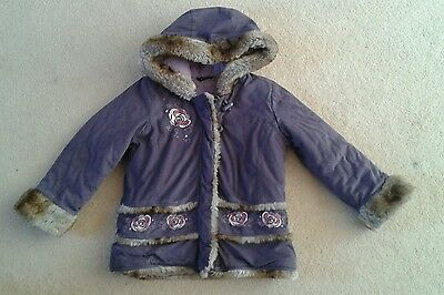 Girls George Furry Lilac Winter Coat age 5-6 Years