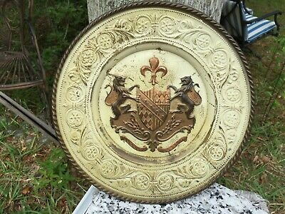 Rare Vintage Coat of Arms French Embossed Brass England Original Painted Plaque