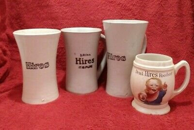 4 vintage Hires root beer mugs – all different