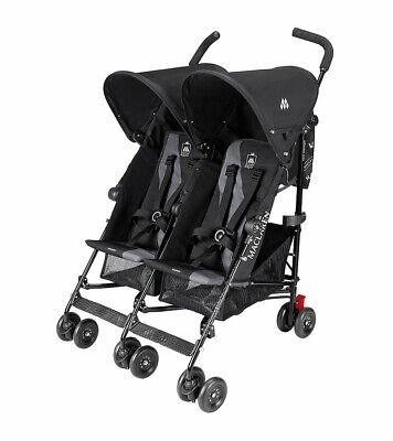 Maclaren Twin Triumph Dual Umbrella Stroller In Black/Charcoal WITH Padded Case