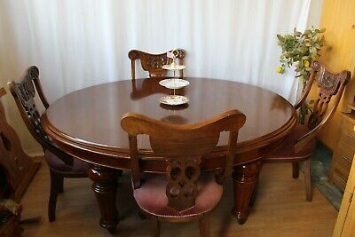 Antique Victorian  Oval Dining Table On Castors & 4 Chairs