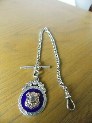 Silver Albert pocket  Watch Chain with fob