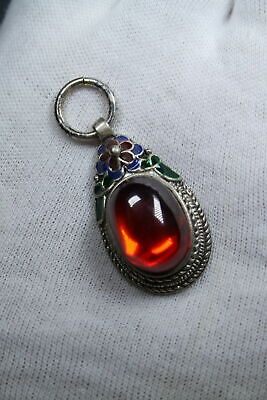 Collectable Decorative Rare Miao Silver Inlay Red Gem Auspicious Elegant Pendant