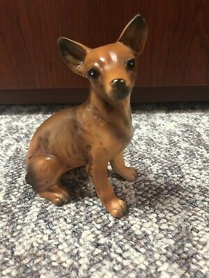 "Vintage Chihuahua Statue Cermic Dog Decor 4.5"" Tall"