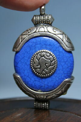 Collectable Handwork Miao Silver Inlay Blue Pattern Auspicious Beautiful Pendant