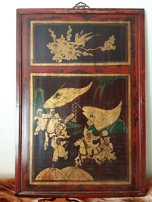 very rare antiques panting panel wood Chinese Vintage Home decor unusual Art