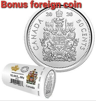 CANADA 2020 50 cents Coat of Arms (BU from mint roll) (+bonus foreign coin)