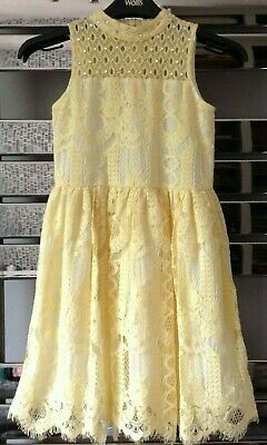 River Island Girls Yellow Lace Faux Diamante Detail Party Dress Age 8 Summer