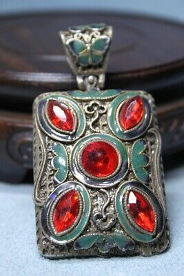 Collectable Handwork Miao Silver Carved Five Red Gems Precious Souvenir Pendant