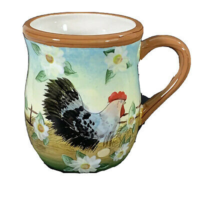 Susan Winget coffee mug country chicken with daisies 16 ounce cup cracker barrel