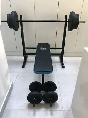 Men's Health Folding Weights Bench with 50kg, Barbell And Dumbbells New & Boxed