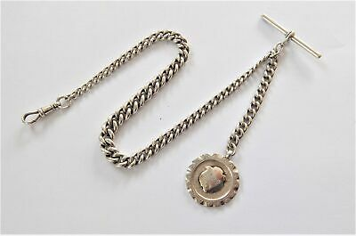 1900 Solid Silver Pocket Watch Chain With T-Bar Dog Clip And Silver Fob 59 Grams
