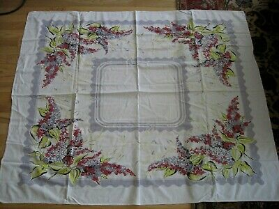 Vtg Cotton Tablecloth Floral With Lilacs