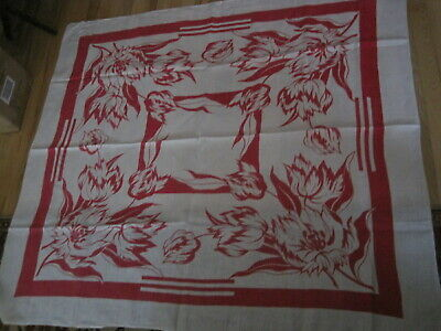 Vtg Linen Tablecloth Tulips White & Pink