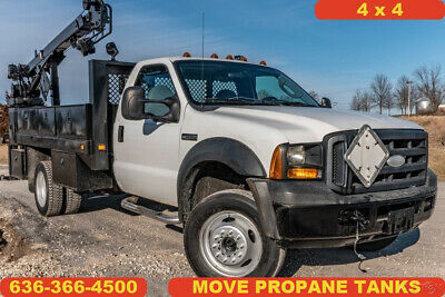 2006 Ford F550 XL Used crane flatbed 4WD diesel move propane tanks 1 owner work