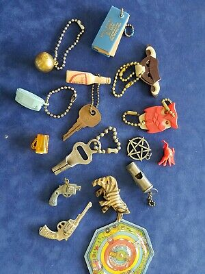 14 Vintage Crackerjack Gumball Machine Toys Prizes Keychains Charms Premiums