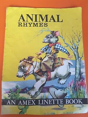 Vintage 1950s Childrens Picture Book Animal Rhymes Amex Linette Retro Kitsch