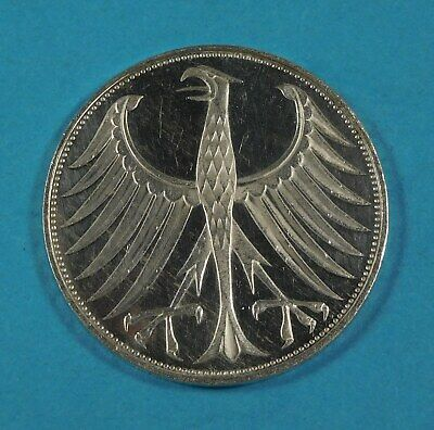 1973 g GERMANY 5 Mark Silver Vintage Genuine Eagle German Coin - UNCIRCULATED