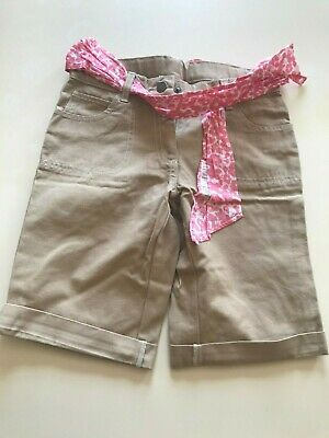 New without tags Mini Boden Girls khaki shorts with pink tie, 10 years