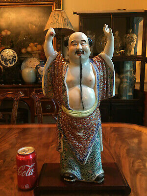 A Rare Large Chinese Antique Famille Rose Porcelain Statue, Marked.