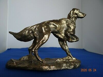 Lovely Vintage Cast Bronze Setter Dog signed J. Spouse