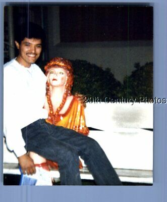 Found Color Photo B_0756 Man Witih Mustache Posed Sitting On Statues Lap On Benc