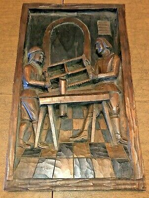 Vintage Wood 1 Piece Relief Carving Wall Hanging Folk Art Woodworking Saw Chess